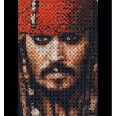 Jack Sparrow (Johnny Depp) perler portrait Photopearls by perle_projektet