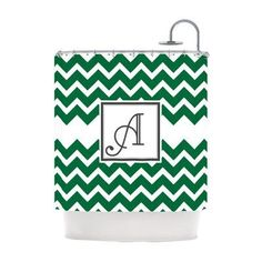 Kess InHouse Original Monogram Chevron Personalized Shower Curtain Green - KIH044CSC01U, KESS101-73