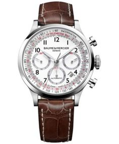 Baume & Mercier Men's Swiss Automatic Chronograph Capeland Brown Alligator Leather Strap Watch 44mm M0A10082 | macys.com