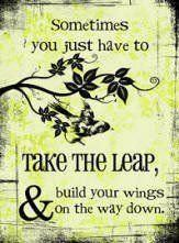 """Sometimes you just have to take the leap, and build your wings on the way down."""