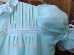 Daygown with Folded Tucks & Lace Insertion