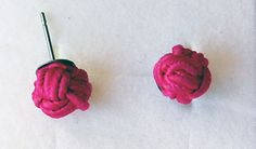Magenta earrings with soutache braid and monkey fist knot <3