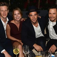 Gabriel Mann, Emily VanCamp, Joshua Bowman and Nick Wechsler pose at Nylon's September issue bash featuring Thorny Rose Wines and hosted by Nylon, ASOS and VanCamp at The Redbury Hotel in Hollywood on Aug. 25, 2013.