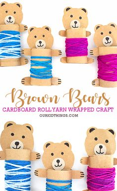 Cardboard Roll Yarn Wrapped Bears Cardboard Roll Yarn Wrapped Bears Craft The post Cardboard Roll Yarn Wrapped Bears appeared first on Craft Ideas. Fall Crafts For Toddlers, Animal Crafts For Kids, Toddler Crafts, Diy Crafts For Kids, Cardboard Tube Crafts, Cardboard Rolls, Paper Roll Crafts, Fun Craft, Craft Activities