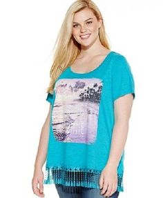 Style & Co. Blue Aqua Fringed Scoop Neck T-Shirt Top Womens Plus Size 0X - NWT  #Styleco #FringedScoopNeckShirt #Casual