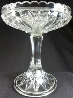 Vintage Faceted EAPG Pressed Glass Footed Compote stars buttons paneled tall