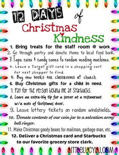 12 Days of Christmas {Kindness} Doing this instead of RAK advent I think, since I'm a slacker. Noel Christmas, 12 Days Of Christmas, Little Christmas, Winter Christmas, Christmas Ideas, Christmas Crafts, Christmas Stuff, Christmas Blessings, Spirit Of Christmas