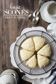Basic recipe for soft, moist, buttery scones.  Perfect as-is with butter and jam, or you can add spices, fruit, or chocolate chips. #scones #easy #recipe #english #plain #british #breakfast #christmas #cream #irish #best #traditional #basic #simple #classic #tea #sweet #fluffy #starbucks #moist #coffee #video #soft #chocolatechip #strawberry #blueberry #vanilla #orange #lemon #cinnamon