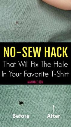 sew-hack- Its time to repair the garment and bring it back to a wearable condition. It will take you 10 minutes but you are going to love this no-sew hack. Sewing Hacks, Sewing Tutorials, Sewing Crafts, Sewing Tips, Tutorial Sewing, Sewing Lessons, Sewing Art, Fabric Sewing, Sewing Blogs