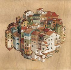En su última serie de pinturas, la artista e ilustradora originaria de Barcelona Cinta Vidal Agulló desafía la gravedad y las convenciones arquitectónicas para crear escenas que se comprimen en un mismo espacio entre fascinantes perspectivas que se cruzan de una forma engañosa, sutil y sorprendente.