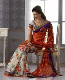 Beautiful Floral Print & Embroidered Chiffon Saree