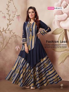 Femigrace Vol 7 Printed Rayon Long Flair Readymade Kurtis Collection at Wholesale Rate Printed Kurti Designs, Kurti Neck Designs, Kurta Designs Women, Dress Neck Designs, Long Dress Design, Stylish Dress Designs, Designs For Dresses, Stylish Dresses, Ladies Dress Design