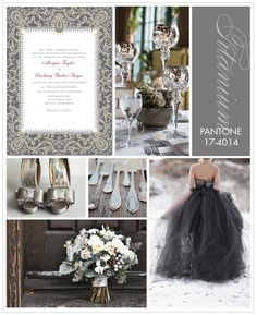 Use Pantone Titanium grey as a base color at your wedding and pair it with soft, pale tones, or contrast it with a bright shade like canary yellow.