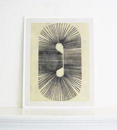 "Art Print . Yellow, Gray and Black . Minimalist . Large Print: Cassette 1 . Print Size 21"" x 27"""