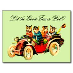 Vintage wild cats out for a fun ride with fur coats and wintry flasks - Sweet note card