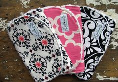 Baby Girl Burp Cloths - Set of 3 - Pink & Black Combo - London, Taza Tarika Pink and Divine Damask on Etsy, $25.50
