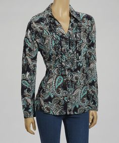 Take a look at this Blue Paisley Ruffle Button-Up - Women by Live A Little on #zulily today!