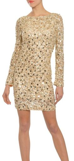 Aidan Mattox Captivating Fully Sequin Sparkling Long Sleeve Cocktail Dress