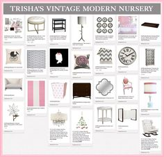 """""""Trisha's Vintage Modern Nursery"""" 1 of our 5 finalists! Click on over to vote for  your favorite board."""