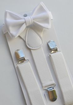 This stylish WHITE BOW TIE & WHITE SUSPENDERS are great for so many occasions! BABY SET (4 - 18 mo): ~ BOW TIE - pre-tied and made with a 13.5 long