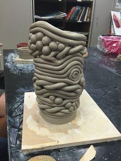 Seaman High school, Ceramic 2 student coil built vase.
