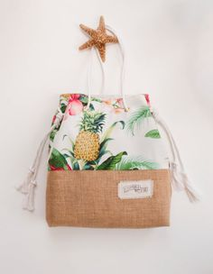 Tropical Pineapple Beach Bag / Palm Print Jute Shopper / Sandsack-Sonderausgabe