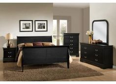 5934 King Size Black Louis Phillipe Bed with Dresser & Mirror