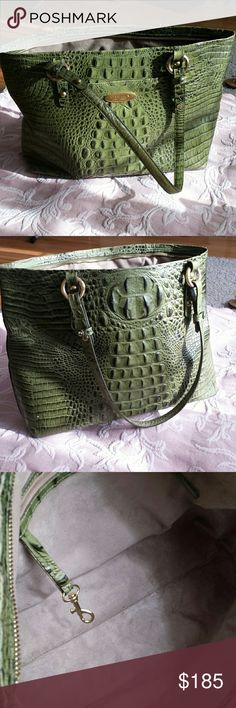 Brahmin bag Beautiful Rich deep dark green Brahmin bag zipper closure has two zippered pockets on the inside two regular pocket 1 key fob two pen holders large pocket on the outside for your telephone 10 in. Drop on the handle it is approximately 13 inches across at the bottom by 10 great condition very light wear on the corners lovely bag more of an olive green Brahmin  Bags Totes