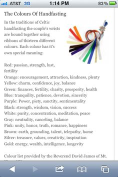 Great guide to what the colors represent for the handfasting cord. I think I want our wedding colors to be black, silver, and blue. Gotta run that by him though.