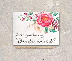Gold Be my Bridesmaid Card, Maid of honor Card Printable - Floral Bridesmaid Card - pinned by pin4etsy.com