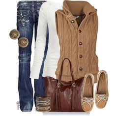 Outfit--screams cozy fall/winter. Love the outfit but definitely different shoes.