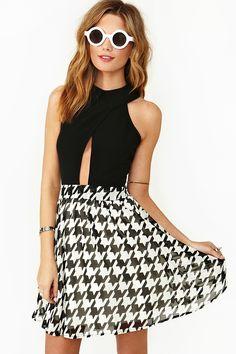 Houndstooth Skater Dress  Skater Dress cute #casualoutfit #ramirez701 #SkaterDress #Skater #Dress #topdress www.2dayslook.com