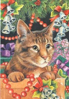 Xmas Cat Under the Tree by Otter House Merry Christmas Cat, Cat Christmas Cards, Christmas Card Pictures, Christmas Animals, Christmas Postcards, Christmas Scenes, Xmas, Winter Cat, Winter Wonderland Christmas