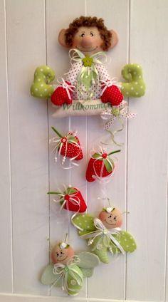 �� Girlande Gartenwichtel Erdbeeren Schmetterling Frühling Sommer Tilda ��
