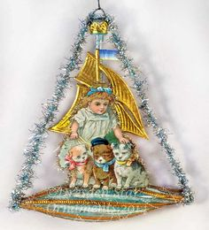 Girl with Puppies in Aqua Sailboat ornament from Dresden Star Ornaments Antique Christmas Decorations, Victorian Christmas Ornaments, Vintage Christmas Images, Old World Christmas, Primitive Christmas, Vintage Decorations, Primitive Crafts, Country Christmas, Paper Ornaments