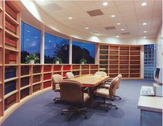 meeting room with bookshelf