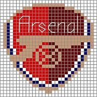For color choices see the full-size arsenal pattern. Knitting Charts, Baby Knitting, Knitting Patterns, Fuse Beads, Hama Beads, Fc Bacelona, Cross Stitch Charts, Cross Stitch Patterns, Arsenal Badge