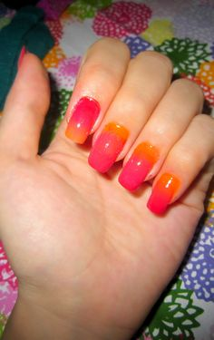 tried out ombre nails with red, fushia, hot pink, and orange!