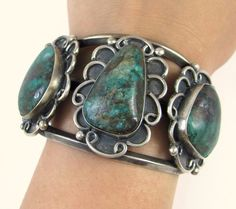 Old Pawn Navajo Handmade Solid Sterling Silver Chrysocolla Cuff Bracelet J TI
