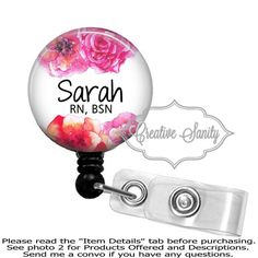 Personalized retractable id badge holder fancy frame black retractable badge holder personalized watercolor flowers border choice of badge reel carabiner lanyard or stethoscope id tag sciox Choice Image