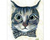 "8x11 inch print cat art print of ""Good Boy Cat With A Checked Bowtie "" for wall art or wall deco (2)"