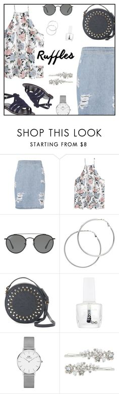 """""""Add Some Flair: Ruffled Tops"""" by rasa-j ❤ liked on Polyvore featuring IRO, H&M, Ray-Ban, Melissa Odabash, Olivia Miller, Maybelline, Daniel Wellington, Robert Rose, Manolo Blahnik and womensFashion"""