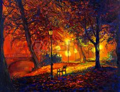 Original oil painting showing beautiful Autumn park,lake and bench on canvas. Modern Impressionism