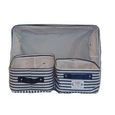 6 Piece Stripe Canvas Storage Bin Set