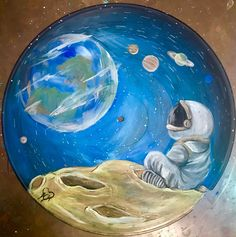 Looking Back While Moving Forward, acrylic on vinyl record. Homage to the moon landing anniversary : pain Looking Back While Moving Forward, acrylic on vinyl record. Homage to the moon landing anniversary : painting Cd Wall Art, Record Wall Art, Cd Art, Diy Canvas Art, Vinyl Art, Art Lessons, Art Inspo, Vinyl Records, Painting & Drawing