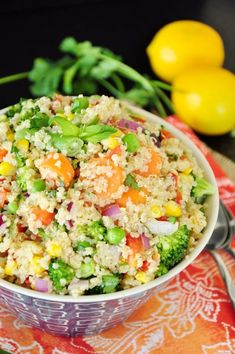 Packed with a variety of vegetables and herbs along with a simple and delicious lemon Dijon dressing, this vegan quinoa bowl is rich in flavor and nutrients. It's gluten-free and super easy to customize. Healthy Meals For Two, Healthy Snacks, Healthy Eating, Clean Eating, Healthy Sides, Healthy Dinners, Vegetarian Recipes, Healthy Recipes, Sweets Recipes