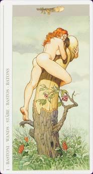 I think this is meant to be the Ace of Wands (!) - from the Decameron Tarot by Lo Scarabeo. A sexually explicit (as well as quite sexist in my opinion) deck! (This card is tamer than most).