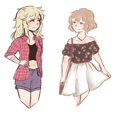 Some sketches from today. Idk lately I've been into drawing fashion and so that I get to draw fanart too, I drew Osoro and Amai from Yandere Simulator.