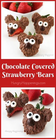 Surprise your loved ones this Valentine's Day with a plate or box of these adorable Chocolate Covered Strawberry Bears. Each milk chocolate covered strawberry is decorated with chocolate ears, candy eyes, and an M&M nose.