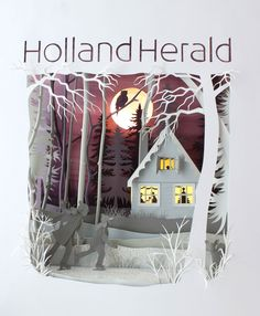 """Helen Musselwhite - Handsome Frank Illustration Agency """"I was commissioned by Holland Herald the infilght magazine of KLM to produce a scene for the cover of their winter 2012 edition. My inspiration was the frozen countryside canals and the traditional wooden houses on the canal banks. The scene was lit from behind to give the sky a dusky glow and the house was lit with little LEDs to silhouette the happy inhabitants!"""""""
